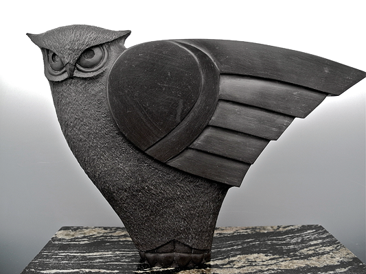 Tj mcdermott carved stone owl bird carvings avosets